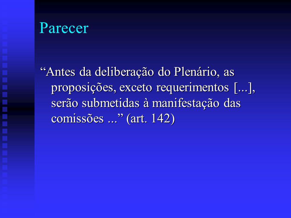 Parecer Antes da deliberação do Plenário, as proposições, exceto requerimentos [...], serão submetidas à manifestação das comissões ... (art.